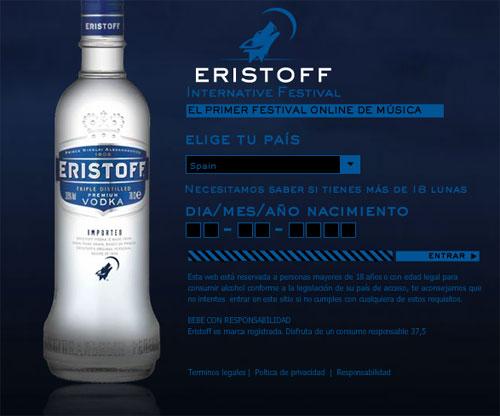 La web de Eristoff nos pide la fecha de nacimiento para comprobar que 'tenemos 18 lunas'