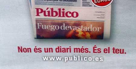 """Texo en la publicidad de Público en catalán: """"non (sic) és un diari més"""""""