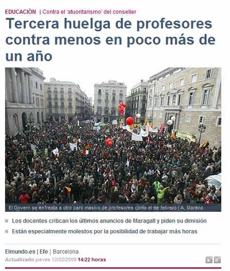 Captura de pantalla de la web del diario El Mundo sobre la huelga del profesorado de secundaria en Cataluña. El títular es Tercera huelga de profesores contra menos en poco más de un año. También se dice que es contra el atuoritarismo (sic) del conseller