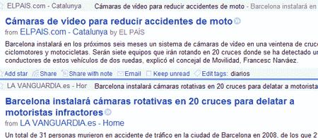 Titular de El País: Cámaras de vídeo para reducir accidentes de moto. Titular de La Vanguardia: Barcelona instalará cámaras rotativas en 20 cruces para delatar a motoristas infractores