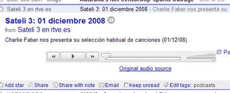 Captura de Google Reader de un podcast de Sateli3, programa de Radio 3, con fecha de uno de diciembre de 2008