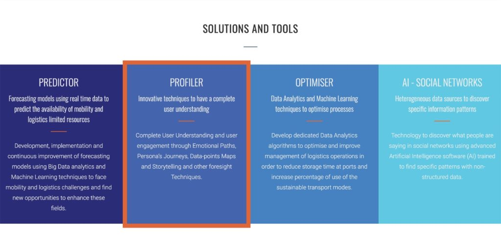 """Mosaic Factor's """"Solutions and Tools""""  screenshot. One on the solutions is """"Profiler"""" which is defined as: Innovative techniques to have a complete user understanding  Complete User Understanding and user engagement through Emotional Paths, Persona's Journeys, Data-points Maps and Storytelling and other foresight Techniques."""