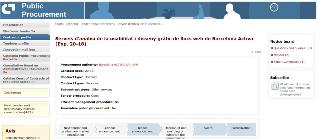 """Image with the access to the public procurement annonce: """"Barcelona Activa web site usability analysis and graphic design services"""""""